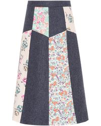 RED Valentino - Floral-printed Wool Skirt - Lyst