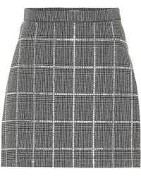 Miu Miu - Embellished Plaid Mini Skirt - Lyst