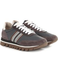 Brunello Cucinelli - Embellished Suede-trimmed Trainers - Lyst