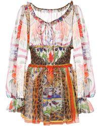 Dolce & Gabbana - Printed Silk Chiffon Blouse - Lyst