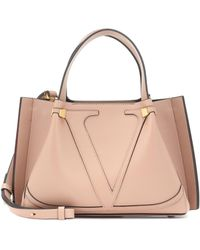 Valentino Vlogo Escape Small Leather Shopper - Natural