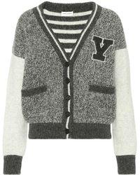Saint Laurent - Wool Varsity Cardigan - Lyst 6a3a2a02e
