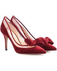 Valentino - Garavani Dollybow Velvet Court Shoes - Lyst