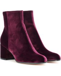 Gianvito Rossi - Margaux Velvet Ankle Boots - Lyst