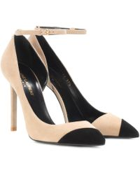 Saint Laurent - Suede And Leather Court Shoes - Lyst