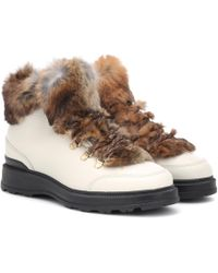 Woolrich - Fur-trimmed Leather Ankle Boots - Lyst