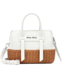 Miu Miu - Leather And Wicker Shoulder Bag - Lyst