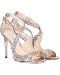 Jimmy Choo - Emily 100 Glitter Sandals - Lyst