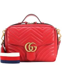 90c5dee2a Gucci GG Marmont Leather Shoulder Bag in Red - Lyst