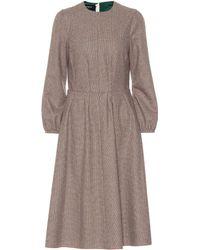 Rochas - Checked Wool-blend Midi Dress - Lyst