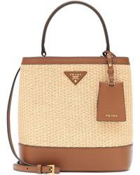 0badf2f58189 Prada - Panier Medium Straw Shoulder Bag - Lyst