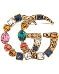Gucci - Double G Crystal-embellished Brooch - Lyst