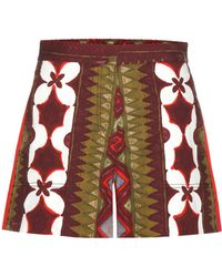 Valentino - Printed Cotton And Linen Shorts - Lyst