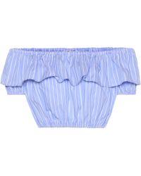 Miu Miu - Striped Cotton Crop Top - Lyst