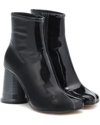 MM6 by Maison Martin Margiela - Patent Leather Ankle Boots - Lyst
