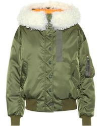Miu Miu - Fur Trim Hooded Bomber Jacket - Lyst