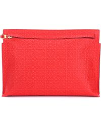 Loewe - T Pouch Embossed Leather Clutch - Lyst