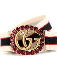 336c91d952390 Lyst - Gucci Striped Logo Patent Leather Belt Bag in Black