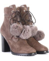 Jimmy Choo - Elba 95 Fur-lined Suede Boots - Lyst