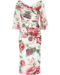 Dolce & Gabbana - Floral Stretch Silk Midi Dress - Lyst