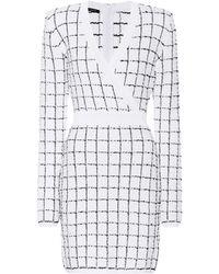 ab6dc933 Balmain Fringed Tweed Mini Dress in Blue - Lyst