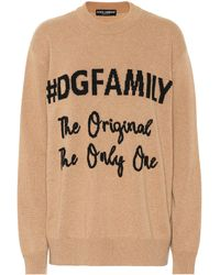 Dolce & Gabbana - Dg Family Cashmere And Wool Sweater - Lyst
