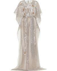 Oscar de la Renta - Embellished Metallic Silk-blend Gown - Lyst
