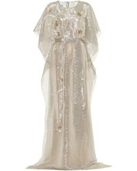 Oscar de la Renta - Embellished Metallic Silk-blend Gown - Lyst
