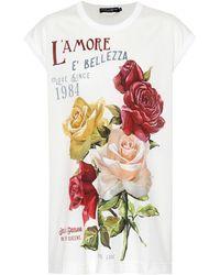 Dolce & Gabbana - Floral Printed Cotton T-shirt - Lyst