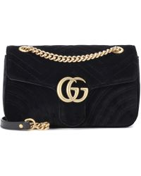 7add32c8e360 Gucci GG Marmont Mini Velvet Shoulder Bag in Black - Lyst