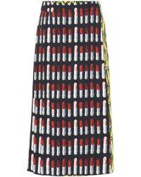 Prada - Printed Wrap Skirt - Lyst