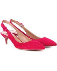 Aquazzura - Pure 45 Suede Slingback Court Shoes - Lyst