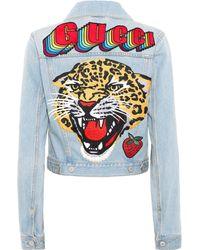 a7eb4ad4c09 Gucci - Veste en jean à appliqués - Lyst