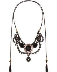 Gucci - Velvet Necklace With Crystals And Beads - Lyst