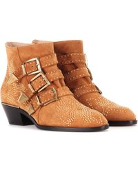 Chloé - Exclusive To Mytheresa. Com – Susanna Studded Suede Ankle Boots - Lyst