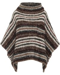 Brunello Cucinelli - Striped Mohair-blend Poncho - Lyst