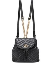 c5b9c55247aa Gucci GG Marmont Leather Backpack in Black - Lyst