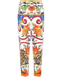 Dolce & Gabbana - Printed Cotton Trousers - Lyst