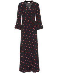 Ganni - Barra Crêpe Wrap Maxi Dress - Lyst