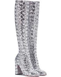 Dolce & Gabbana Glitter Knee-high Boots - Metallic