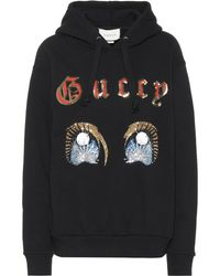 3143282ad93 Gucci Contrasted Gg Hoodie in Black - Lyst