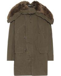 Vince - Faux-fur Trimmed Cotton Coat - Lyst