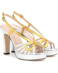 39d36428751865 Gucci - Metallic Leather Plateau Sandals - Lyst