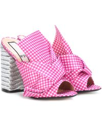 N°21 - Vichy Plaid Open-toe Court Shoes - Lyst