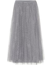 RED Valentino - Embellished Tulle Midi Skirt - Lyst