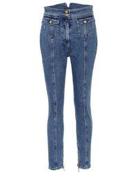 Balmain - Jeans skinny a vita alta - Lyst