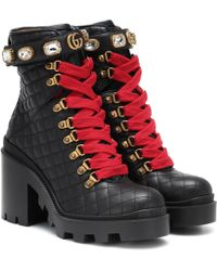 7e8782764 Gucci Jacquelyne Suede Ankle Boots With Studded Heel in Black - Lyst