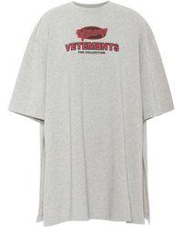Vetements - Printed Cotton Side-slit T-shirt - Lyst