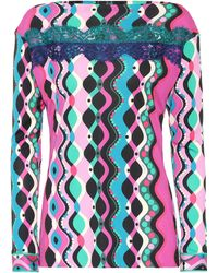 Emilio Pucci - Lace-trimmed Printed Top - Lyst