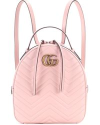 0d0ea30415d8 Gucci GG Marmont Matelassé Leather Backpack in Pink - Lyst